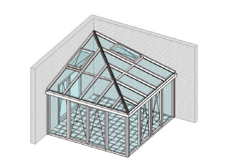 Pultdach mittig diagonal mit Gratsparren