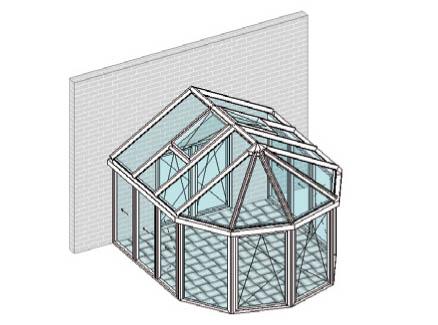 Satteldach, vorn mit Fünfeck-Halkreis-Pavillondach